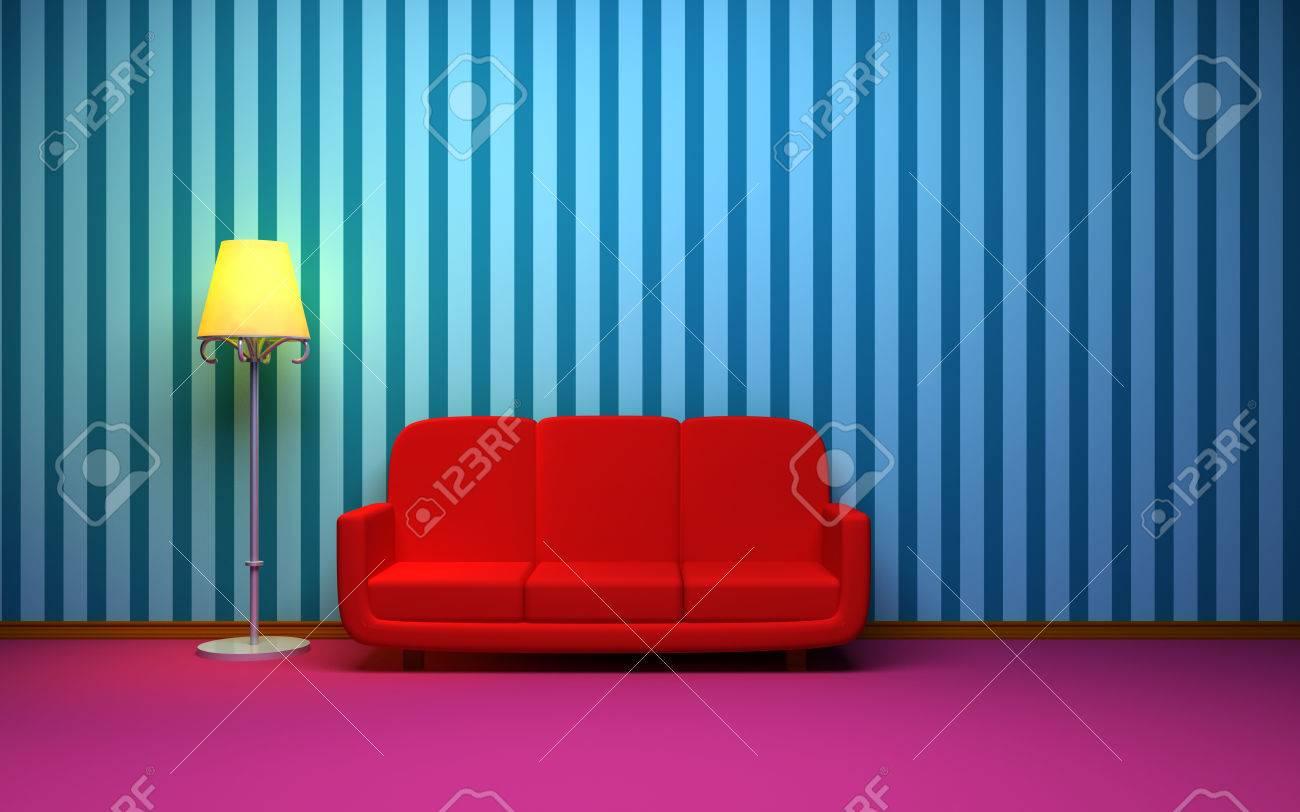 Ein Zimmer Im Retro-Stil Mit Einem Roten Sofa Und Blau Gestreiften ...