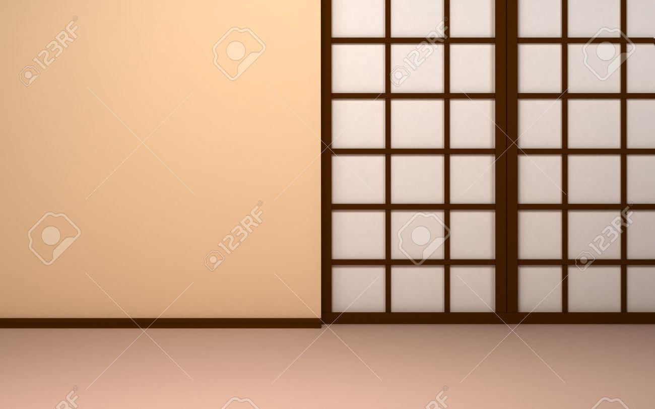 Japanse achtergrond lege beige muur met japanse paneeldeuren shoji ...