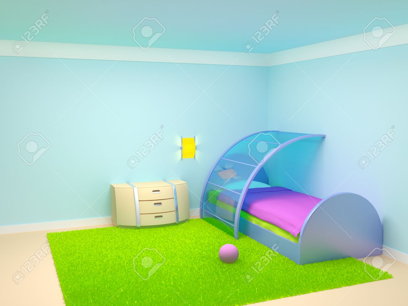 Futuristic bedroom furniture - Futuristic Child Bedroom With Metal Furniture Empty Room Stock Photo 23570114