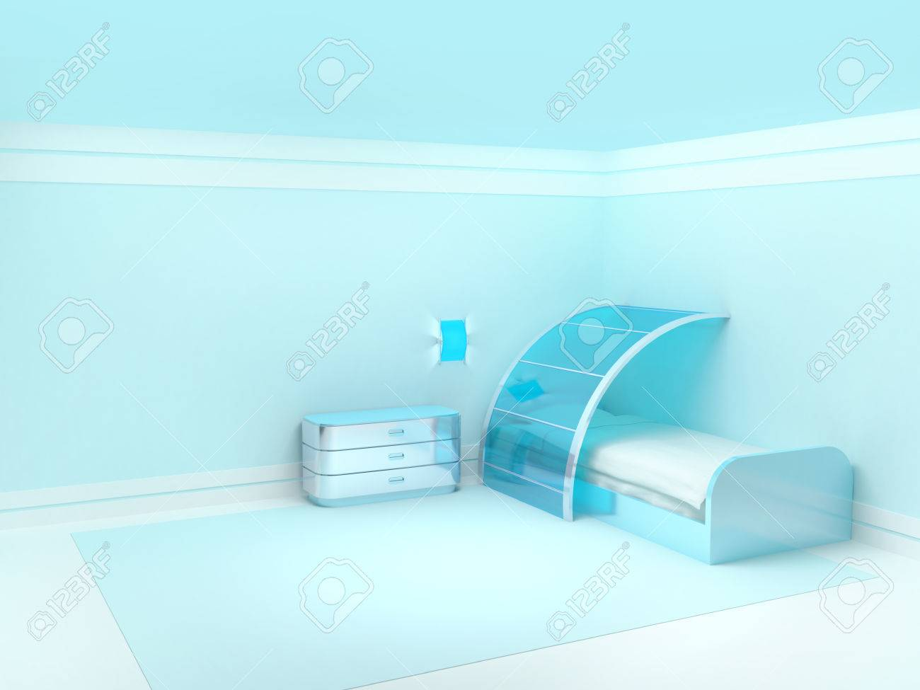 Futuristic bedroom furniture - Futuristic Bedroom With Metal Furniture Empty Room Stock Photo 24058262