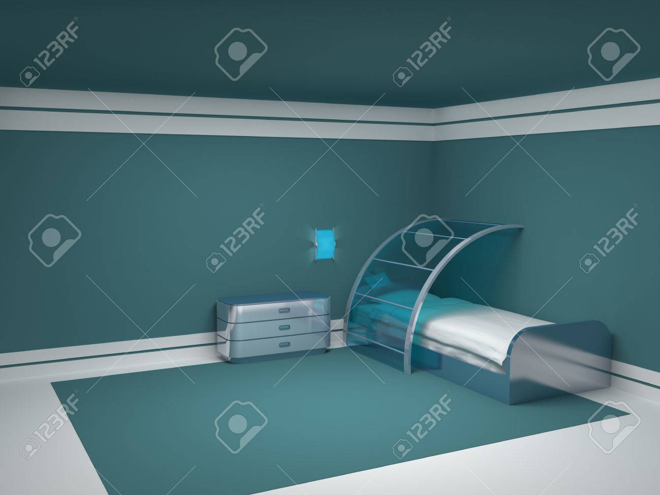 Futuristic bedroom furniture - Futuristic Bedroom With Metal Furniture Empty Room Stock Photo 24058265