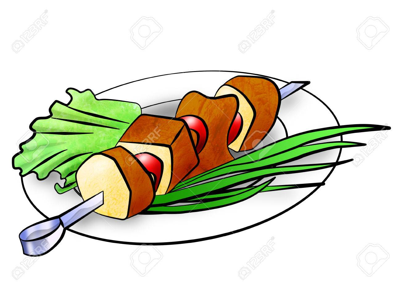 shish kebab on a plate decorated with salad and green onions rh 123rf com Kabob Border Strawberry Clip Art