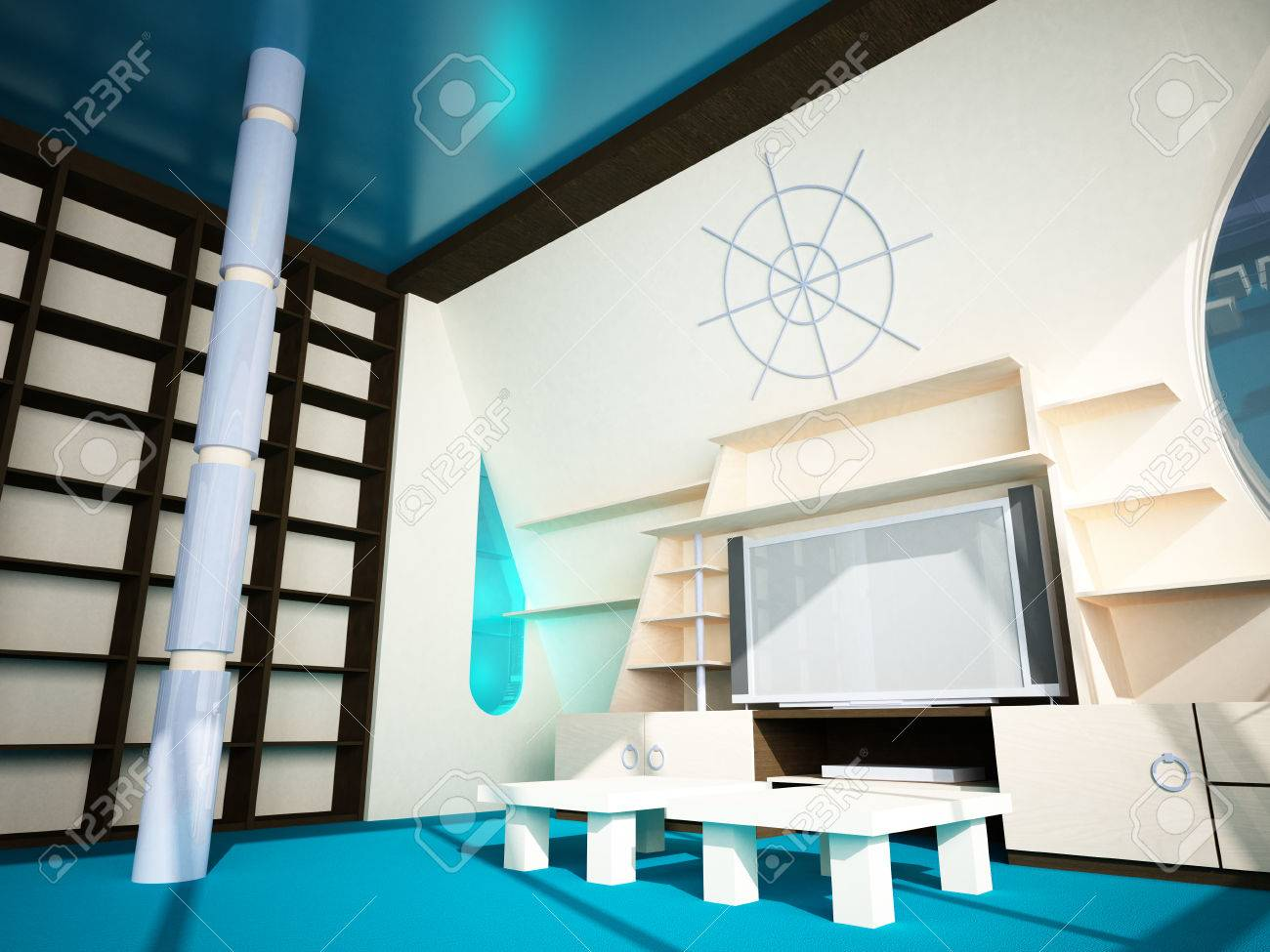 Futuristic interior in modern style of the penthouse  Penthouse with a window in the wall Stock Photo - 24140206