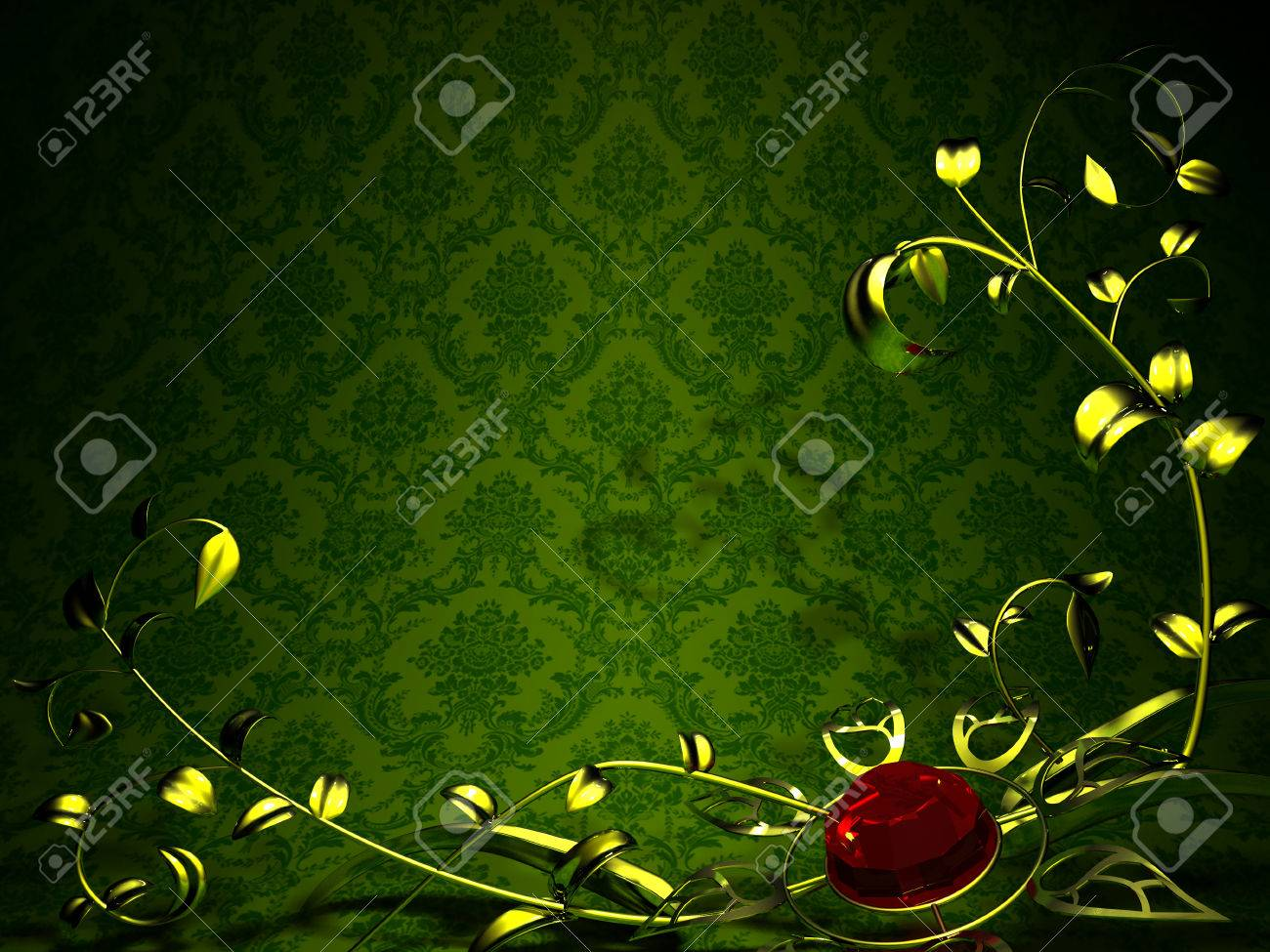 Gold Floral Design On A Background Of Vintage Green Wallpaper Flower Stock Photo