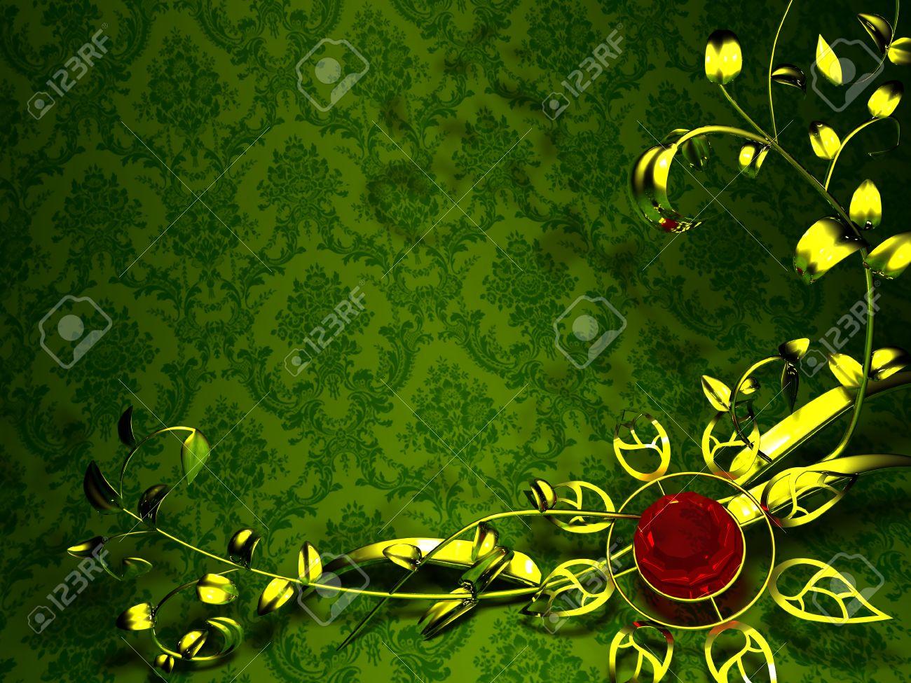 Gold Floral Design On A Background Of Vintage Green Wallpaper