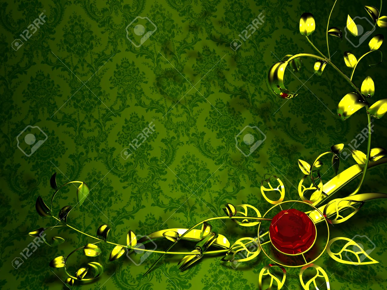Gold Floral Design On A Background Of Vintage Green Wallpaper Flower Stock Photo