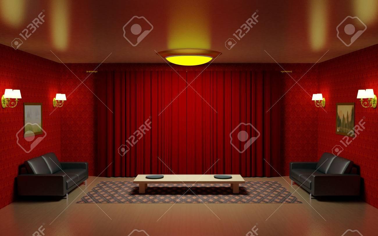 Rood Interieur Woonkamer, Twee Zwarte Lederen Banken, Houten Lage ...