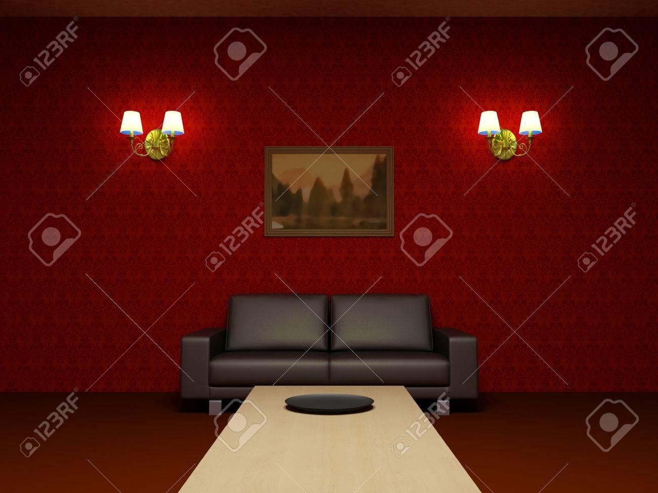 Rood interieur. woonkamer, zwart lederen sofa, houten lage tafel ...