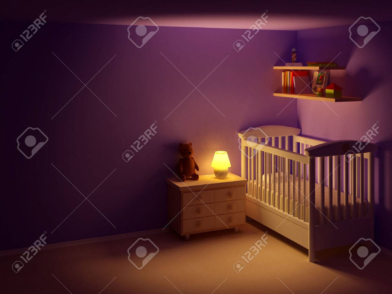 Babys Bedroom With Commode And Bear At Night Empty Room Scene Stock Photo