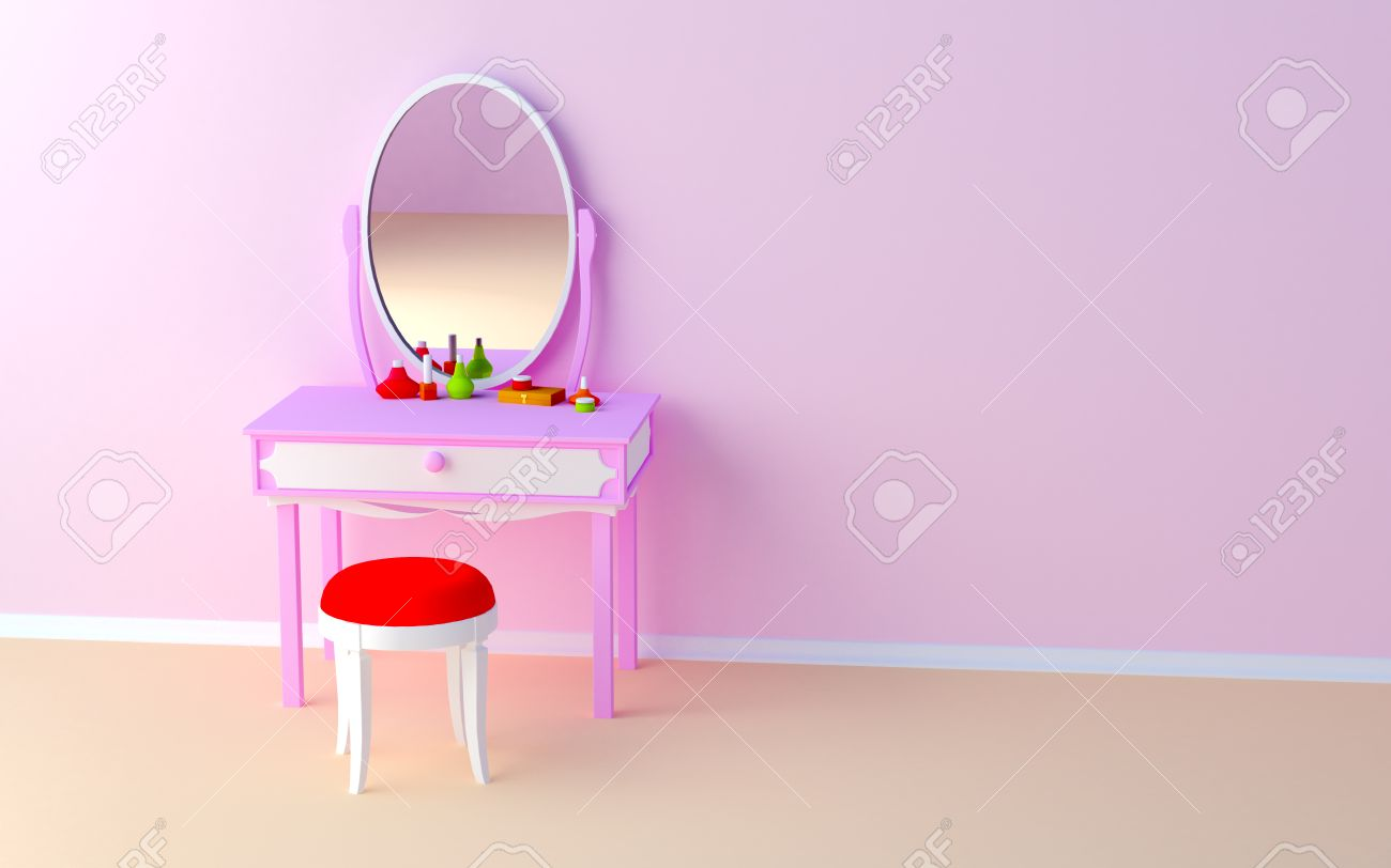 Roze make up tafel bij de muur in het meisje royalty vrije foto ...