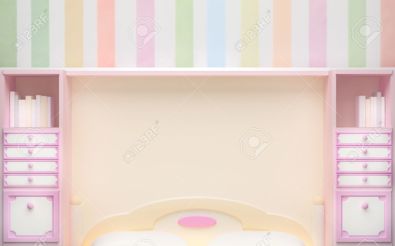 Pastel Colors Bedroom Girls Bedroom Wall In Pastel Colors With Pink Cabinet 3d