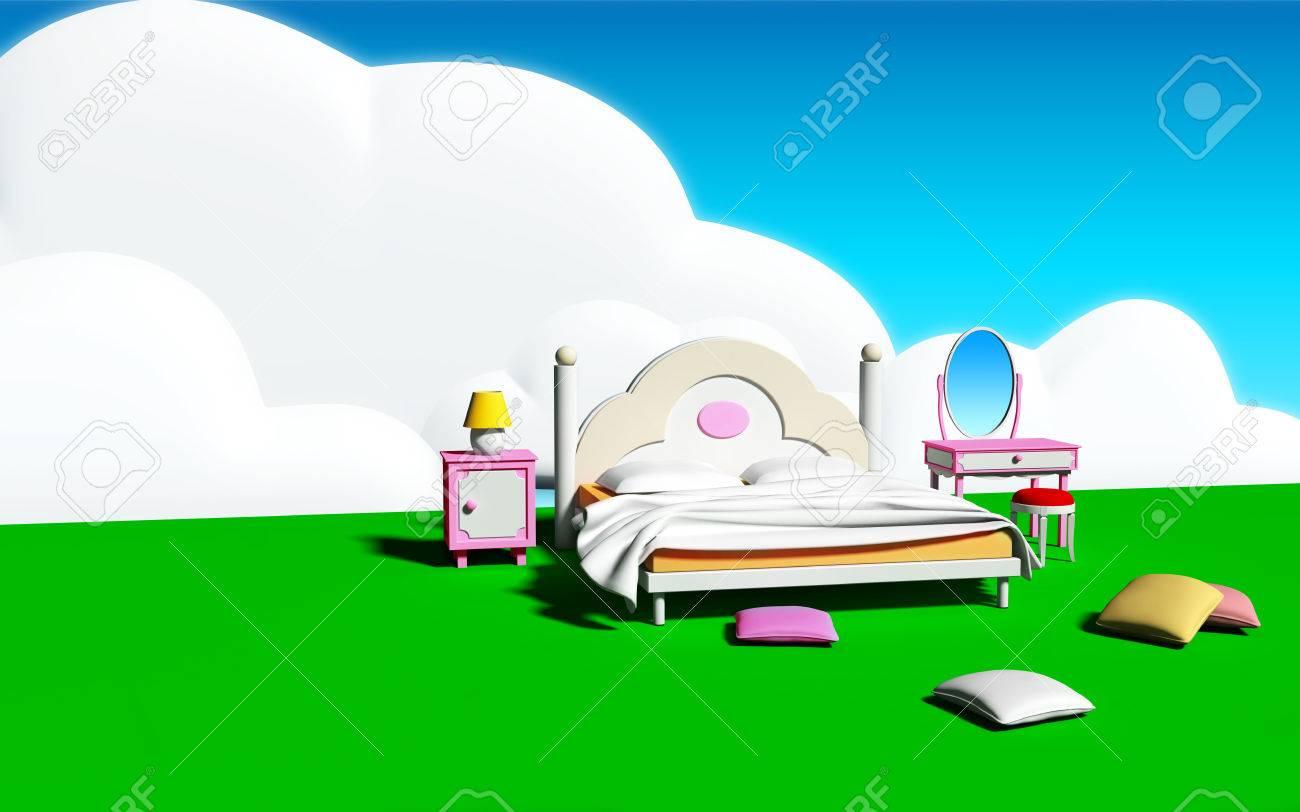 Bett Zimmer In Ein Traumland Schlafzimmer Des Madchens Mit Bunten Kissen Auf Der Grunen Wiese In Den Himmel Mit Grossen Wolken Lizenzfreie Fotos Bilder Und Stock Fotografie Image 27469219