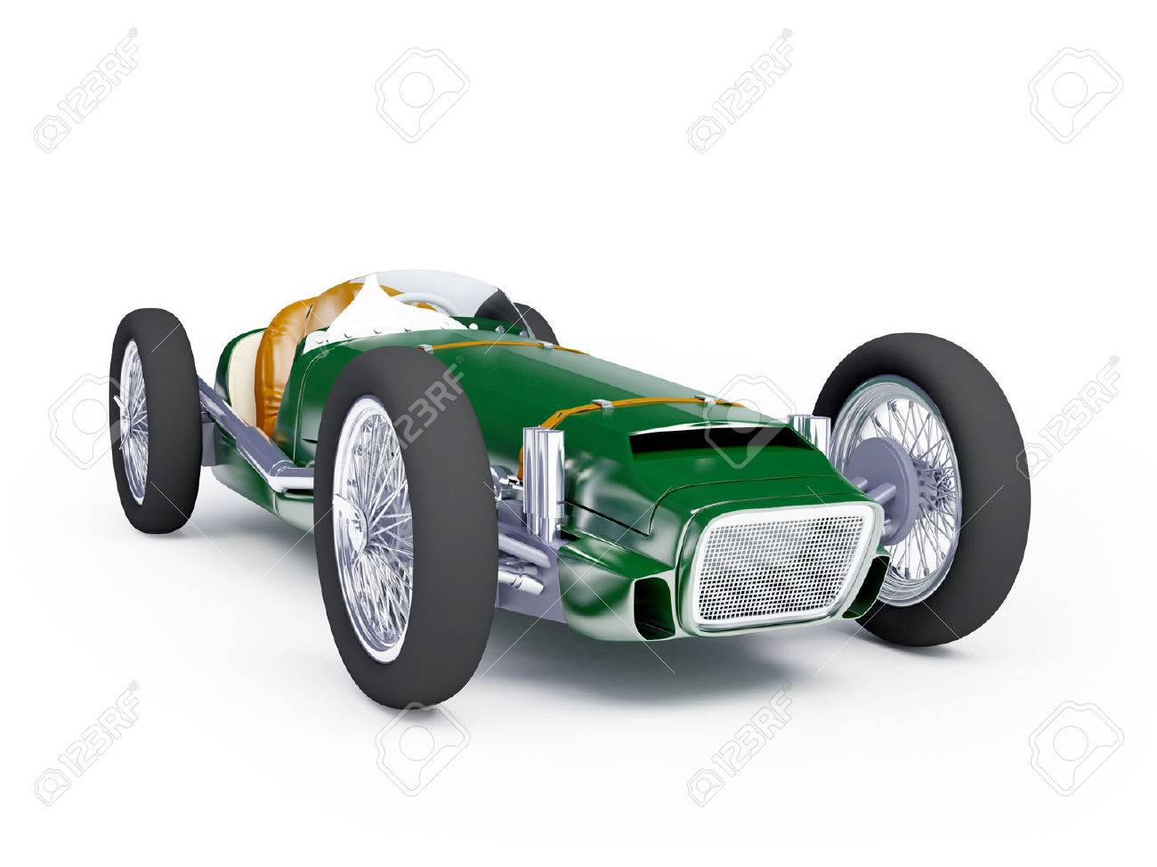 Vintage Racing Car Of Fifties Green Color On A White Background