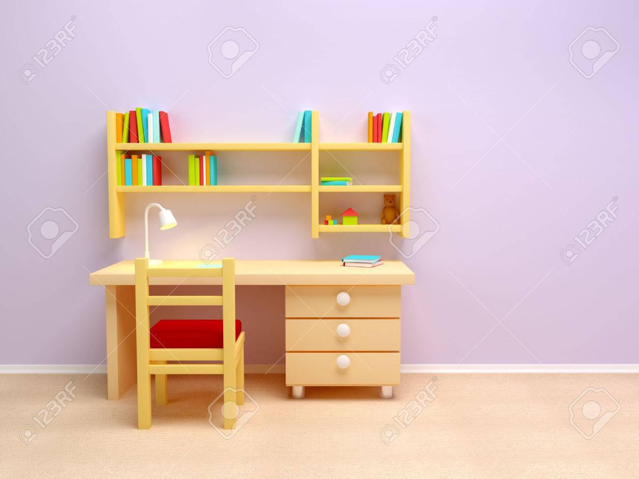 Schule Kinderzimmer Schreibtisch Mit Lampe Und Bucherregale