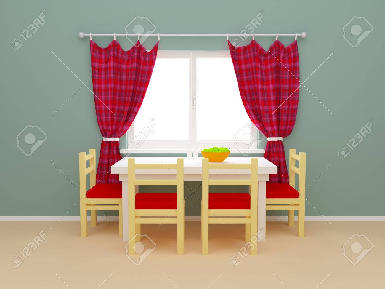 Intérieur Fenêtre De La Cuisine Avec Des Rideaux Et Table à Manger ...