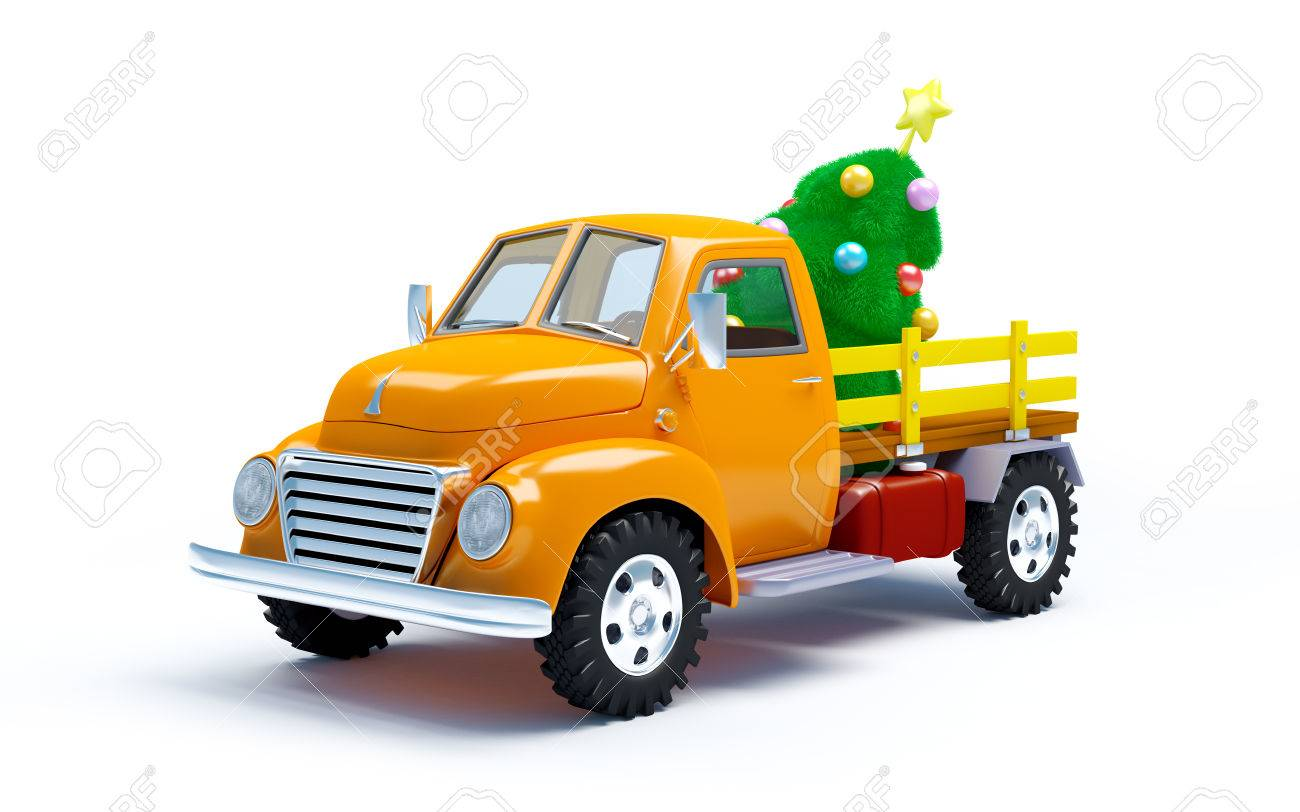 Vintage Old Farm Truck With Christmas Tree Isolated On White Stock Photo Picture And Royalty Free Image Image 34576934