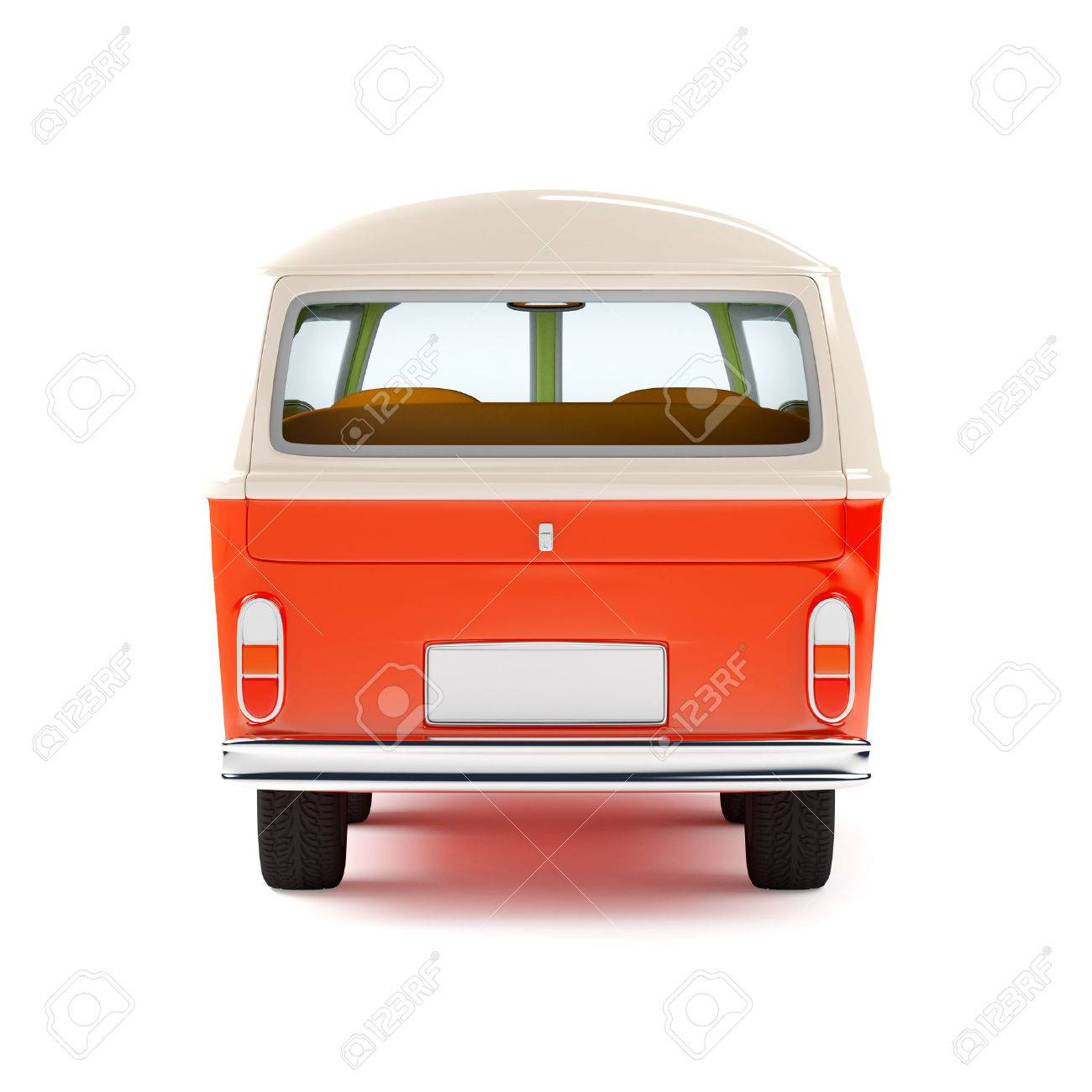 Retro Travel Van In Cartoon Style Back View Isolated On White Stock Photo Picture And Royalty Free Image Image 36623600