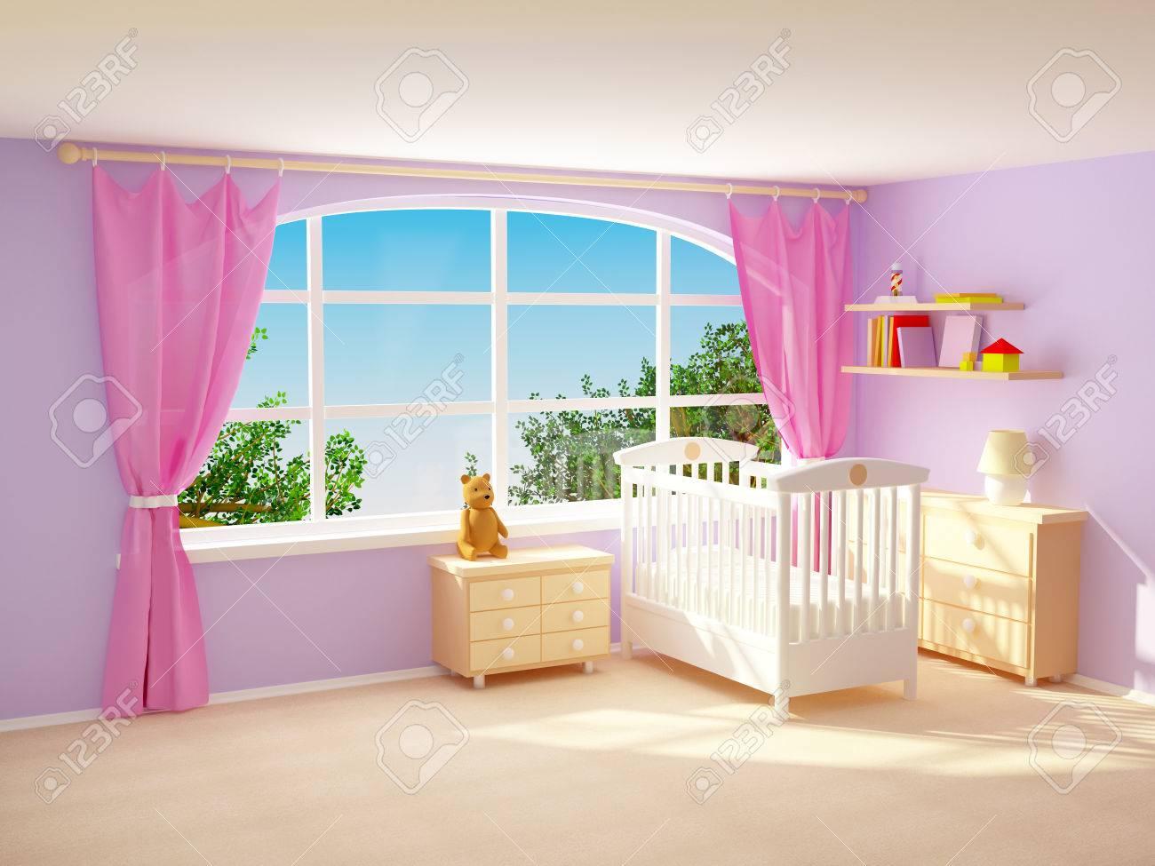 Babys Schlafzimmer Mit Grossem Fenster Kommode Und Bar