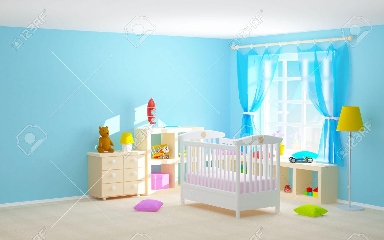 Camera da letto Babys con culla, mensole con i giocattoli, comò e orso.  Illustrazione 3D.