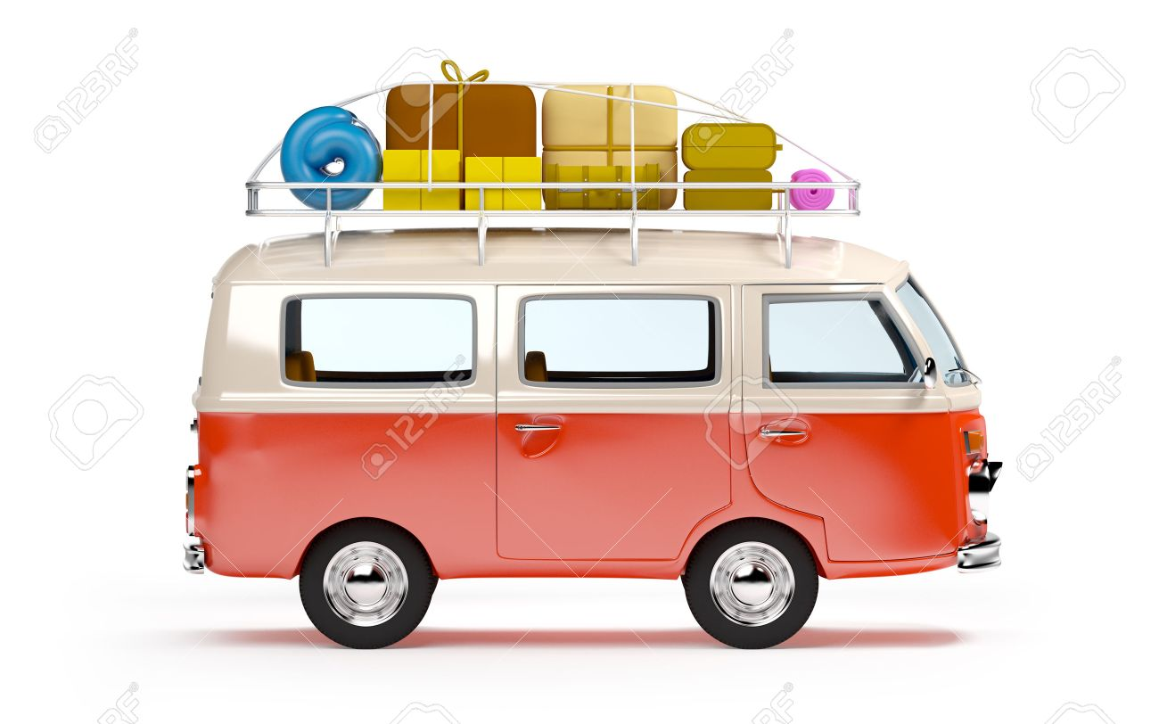 Retro Travel Van In Cartoon Style With Luggage Isolated On White Stock Photo