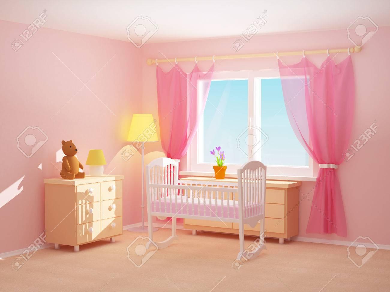 Camera da letto babys con culla comò e orso stanza vuota