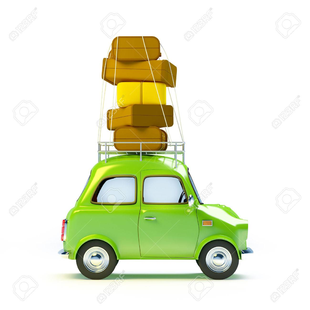 Small And Cute Green Retro Travel Car Side View With Luggage On White Background Stock