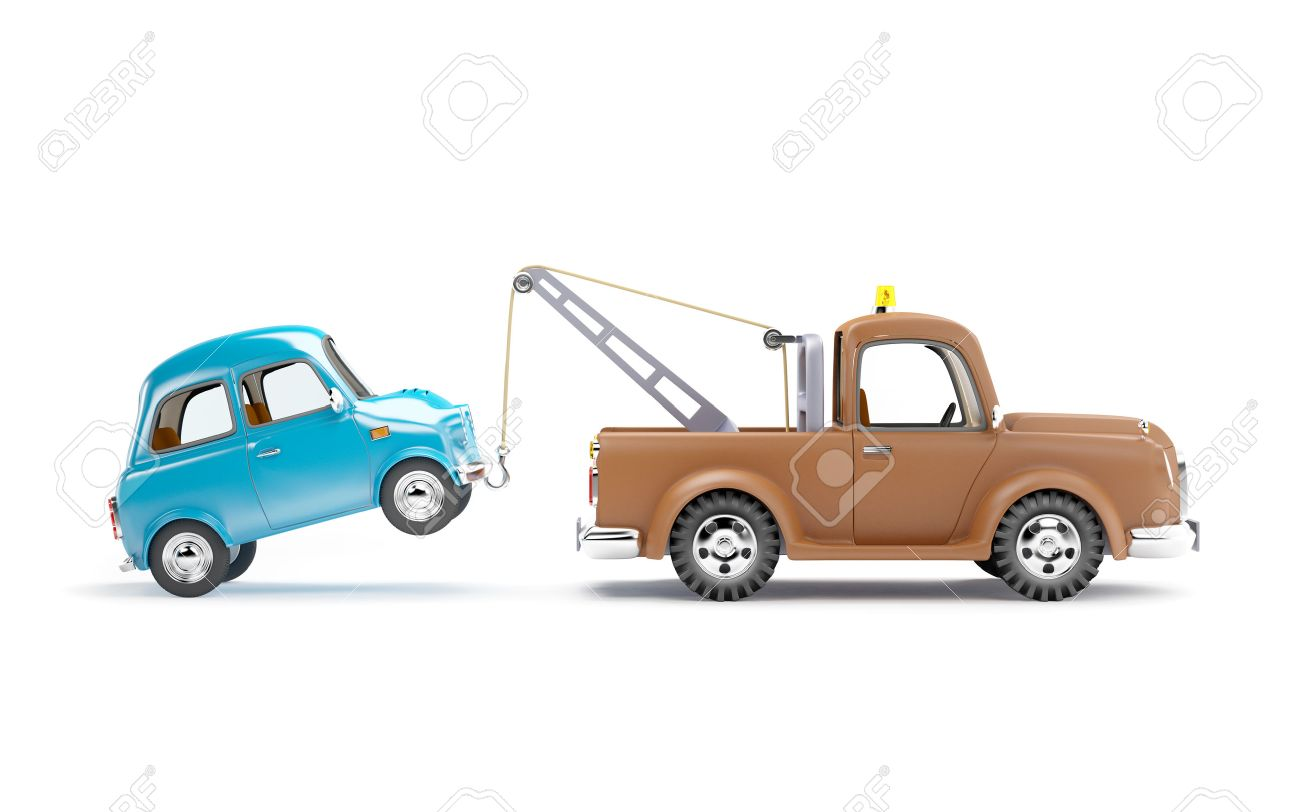 Old Cartoon Tow Truck With Car On White Background Side View Stock Photo