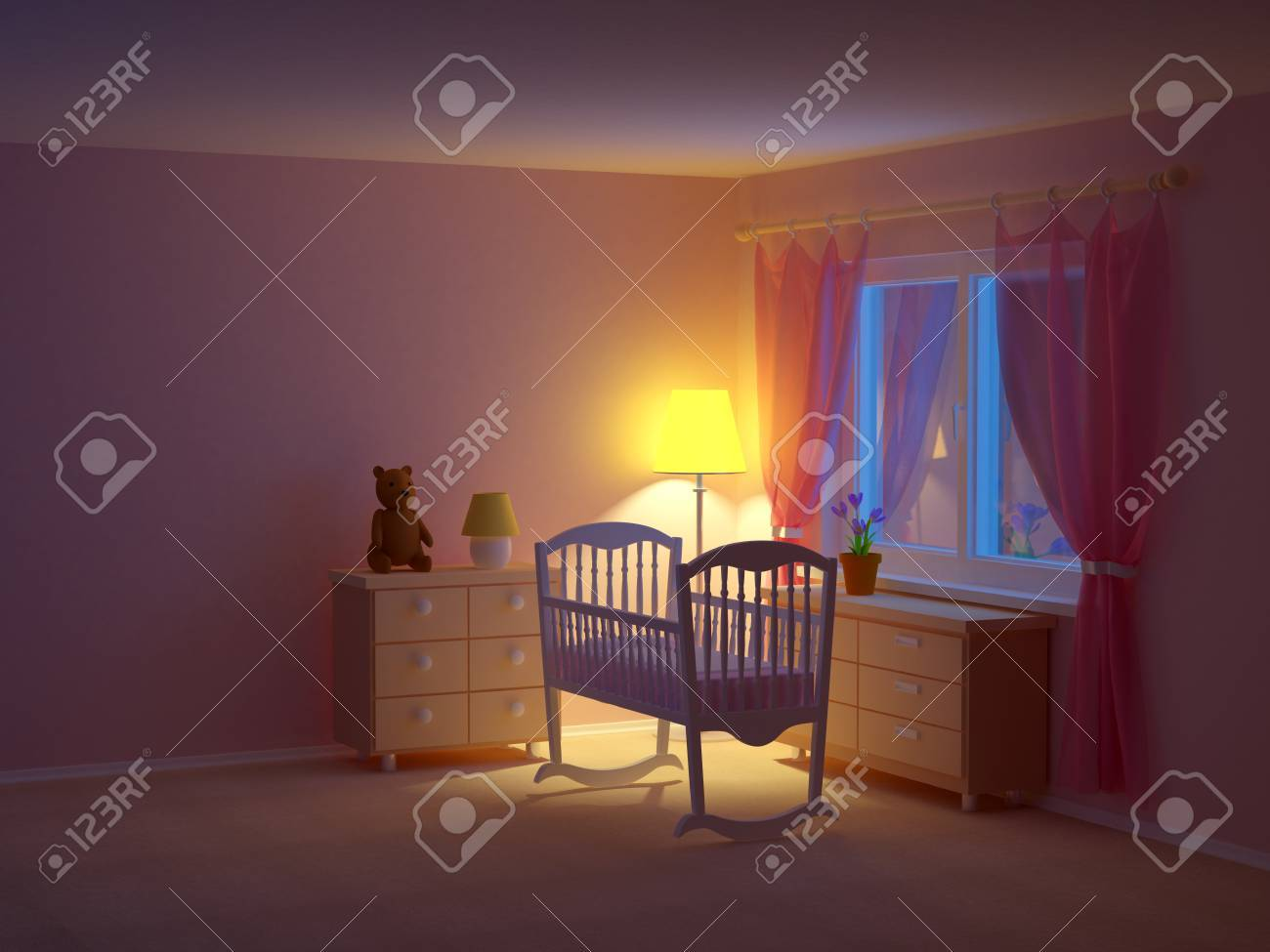 Babys Bedroom With Cradle At Night Empty Room 3d Illustration Stock
