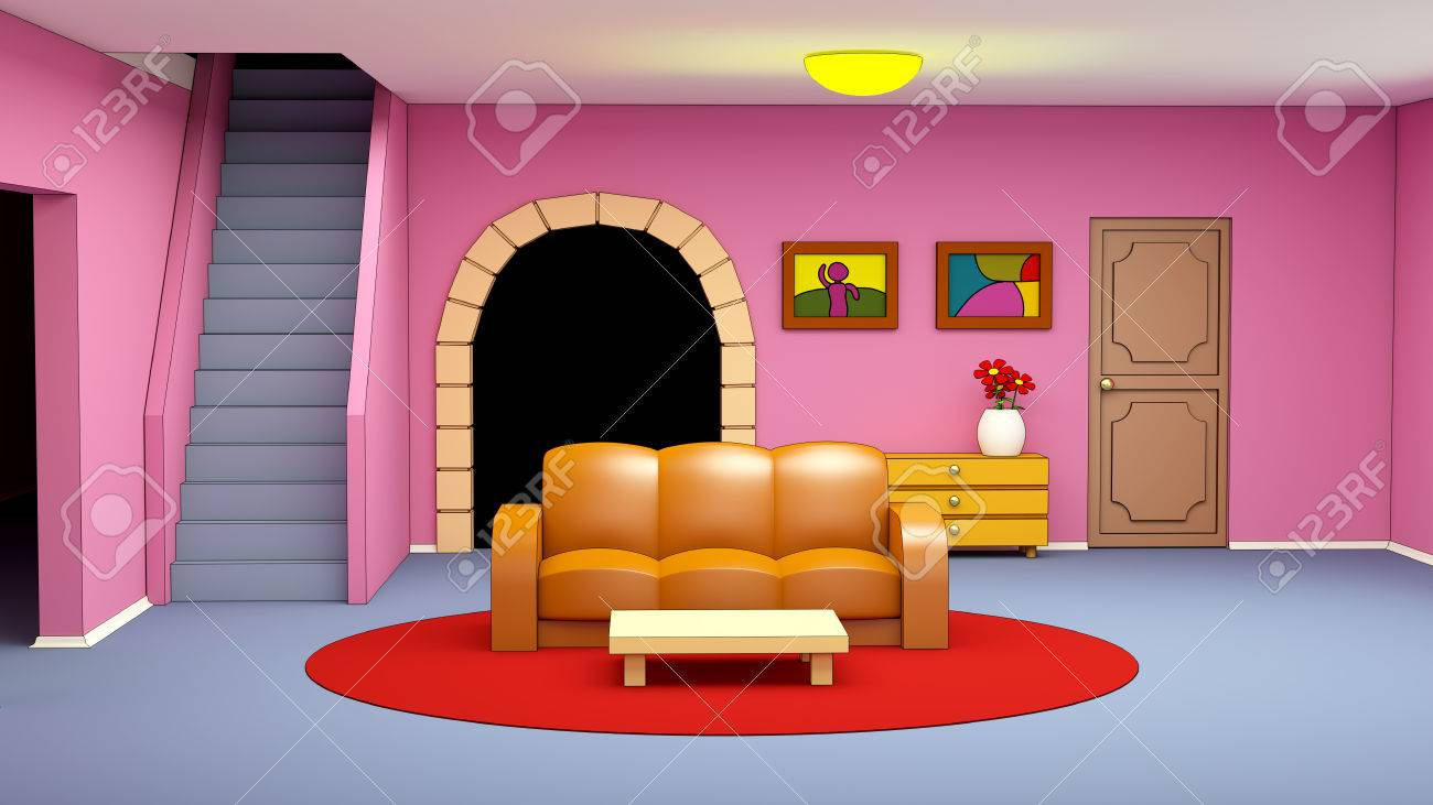 Cartoon Living Room With Sofa In Child Style 3d Illustration Stock