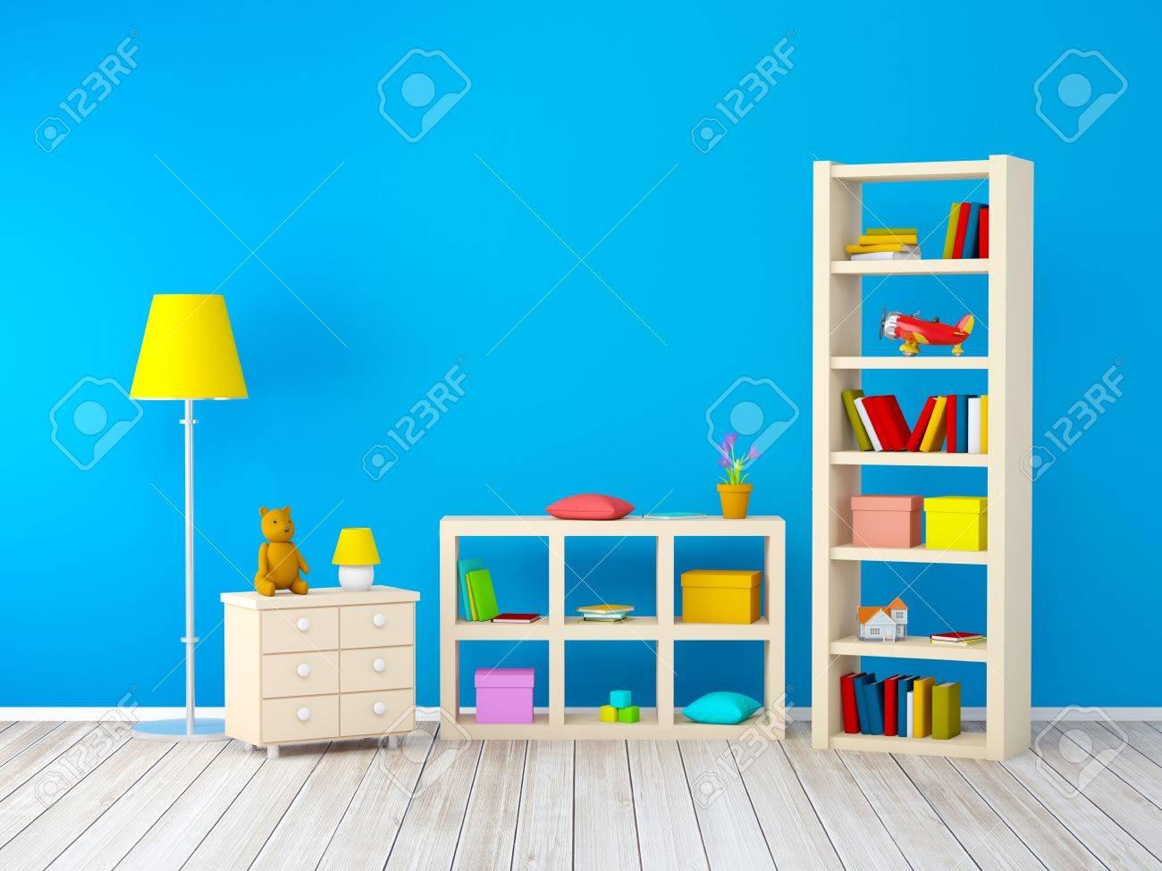 banque dimages chambre denfants avec des bibliothques avec des jouets au mur bleu 3d illustration