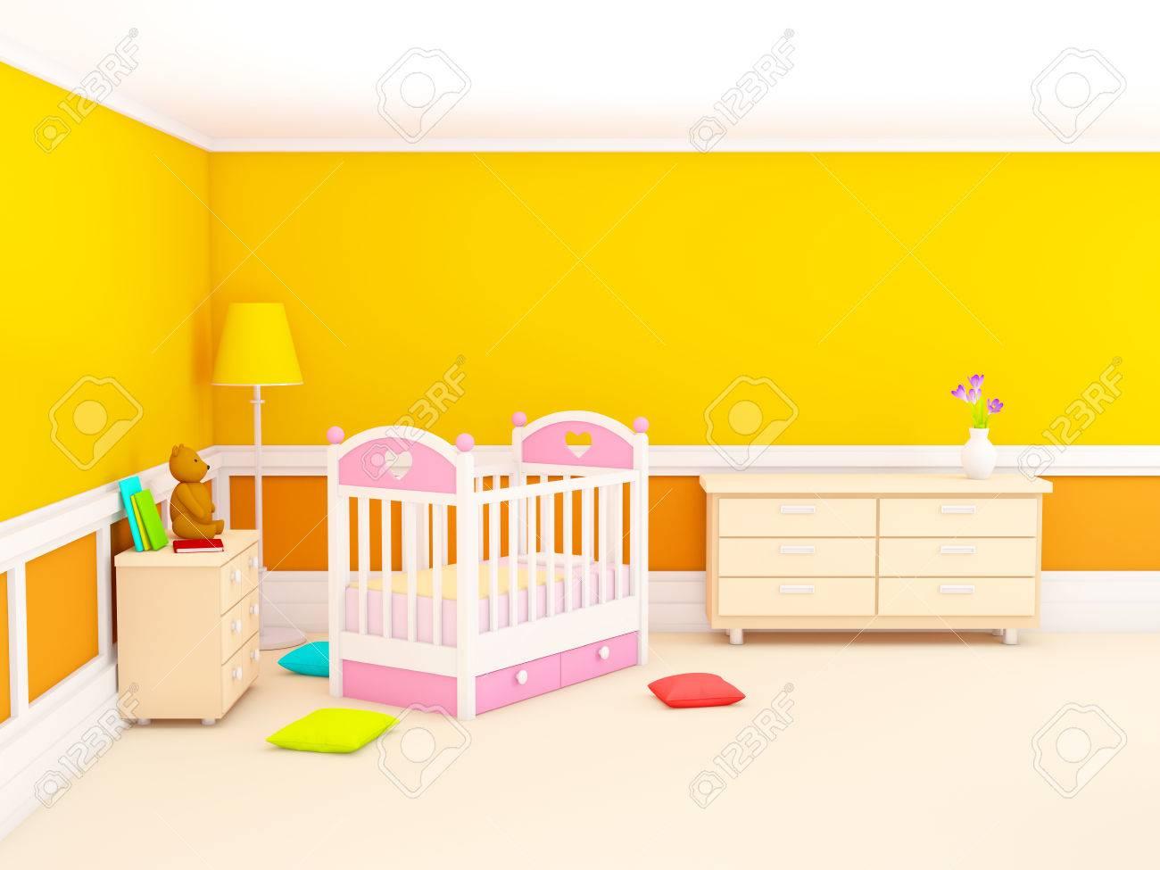 La chambre d\'Orange bébé avec lit, dans un style classique. 3d illustration.