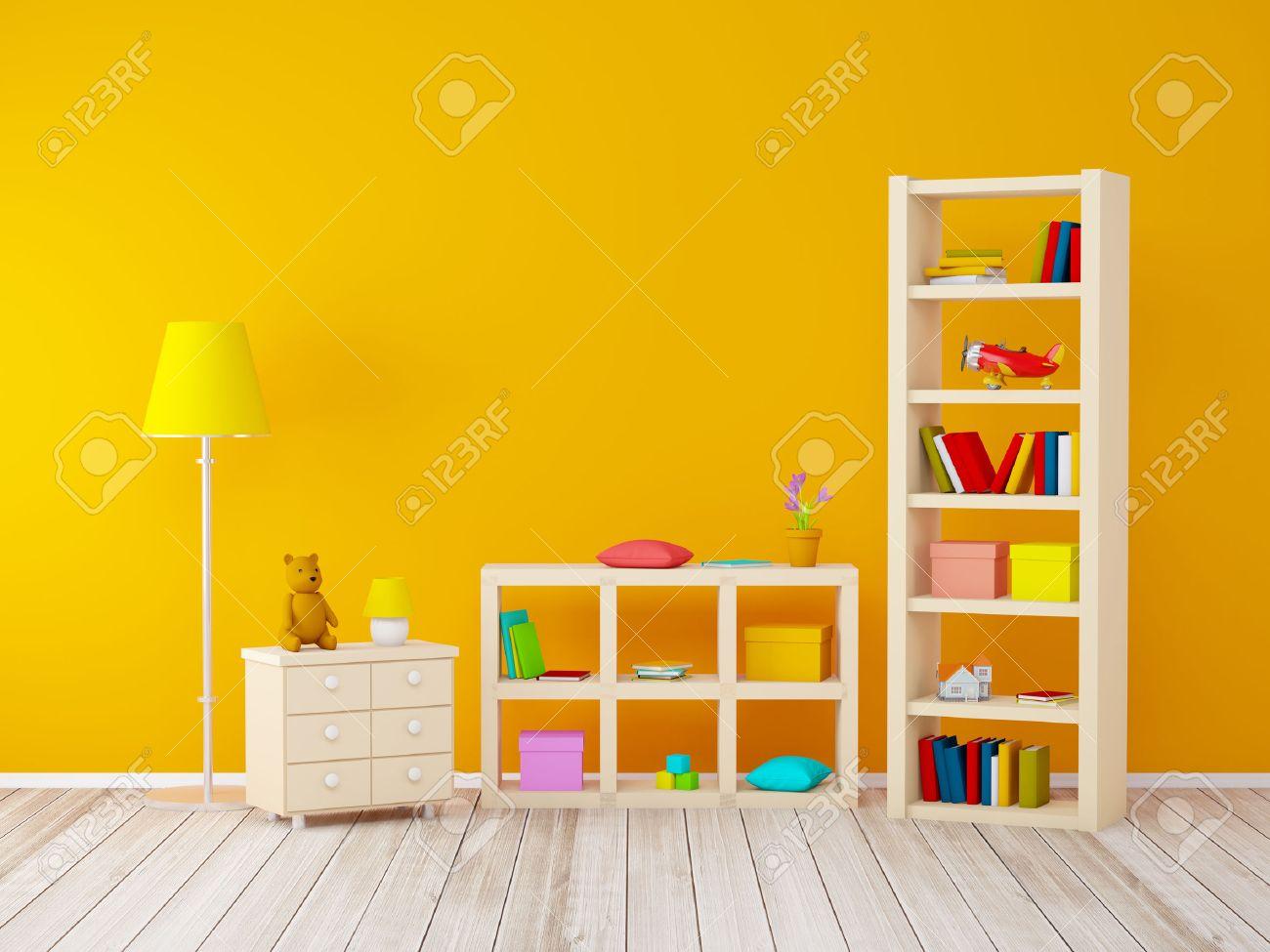 Kinderzimmer Mit Bücherregalen Mit Spielzeug An Der Orange Wand. 3D ...