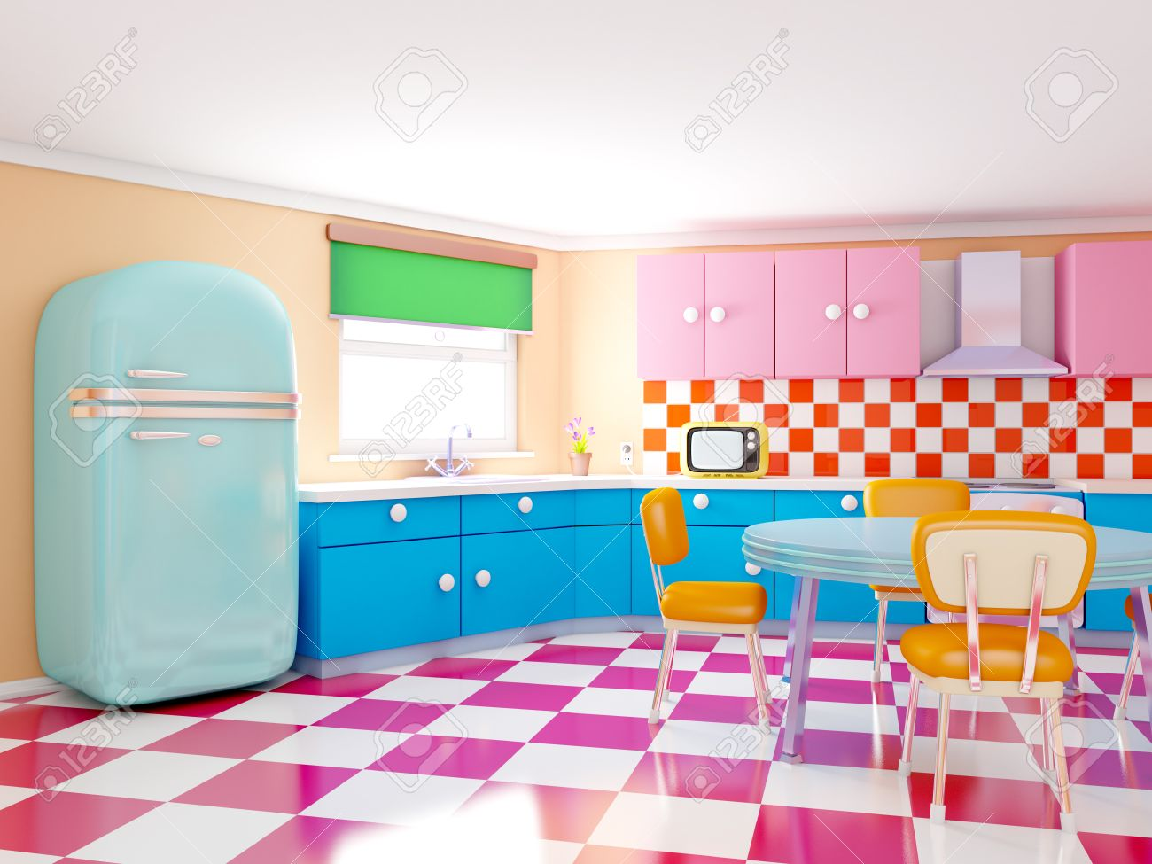retro kitchen in cartoon style with checkered floor 3d stock
