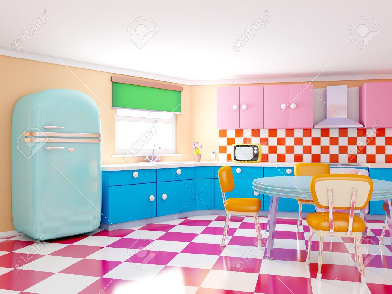Bezaubernd Retro Küche Das Beste Von Küche Im Cartoon-stil Mit Karierten Boden. 3d-darstellung.