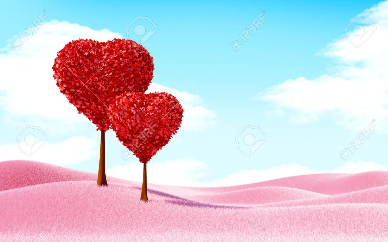 Forma De Corazón árboles Paisaje Con Hierba Rosa Ilustración 3d