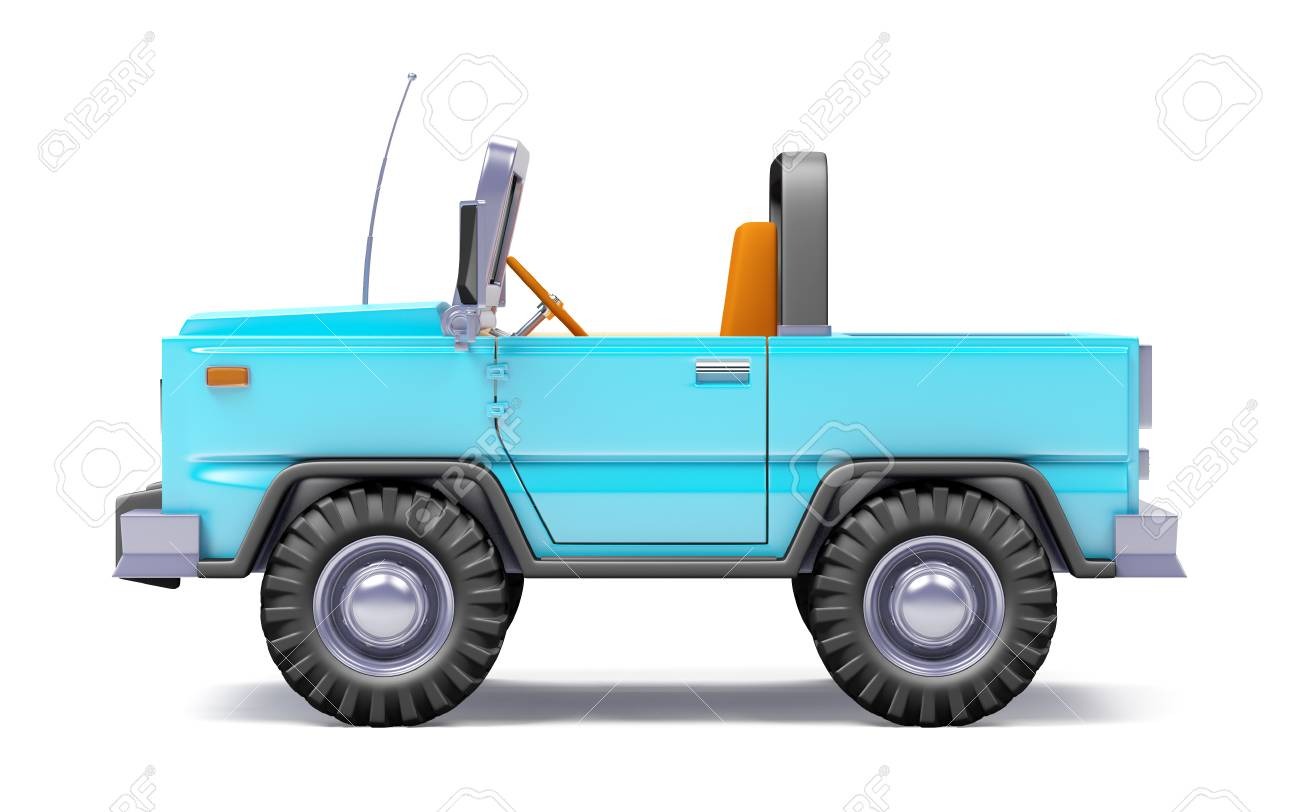 Cartoon Safari Suv Blue Side Stock Photo Picture And Royalty Free