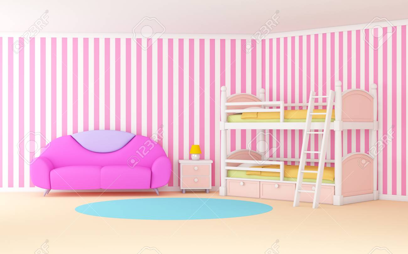 Picture of: Pink Cute Cartoon Interior With A Bunk Bed 3d Illustration Stock Photo Picture And Royalty Free Image Image 95445937