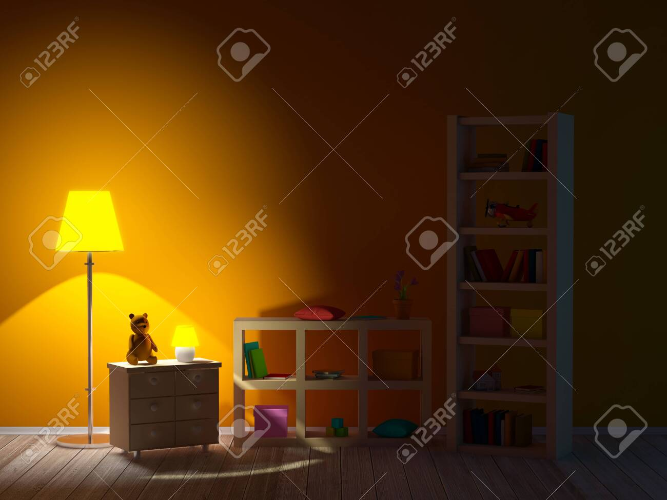 Kids Room With Bookcases Night
