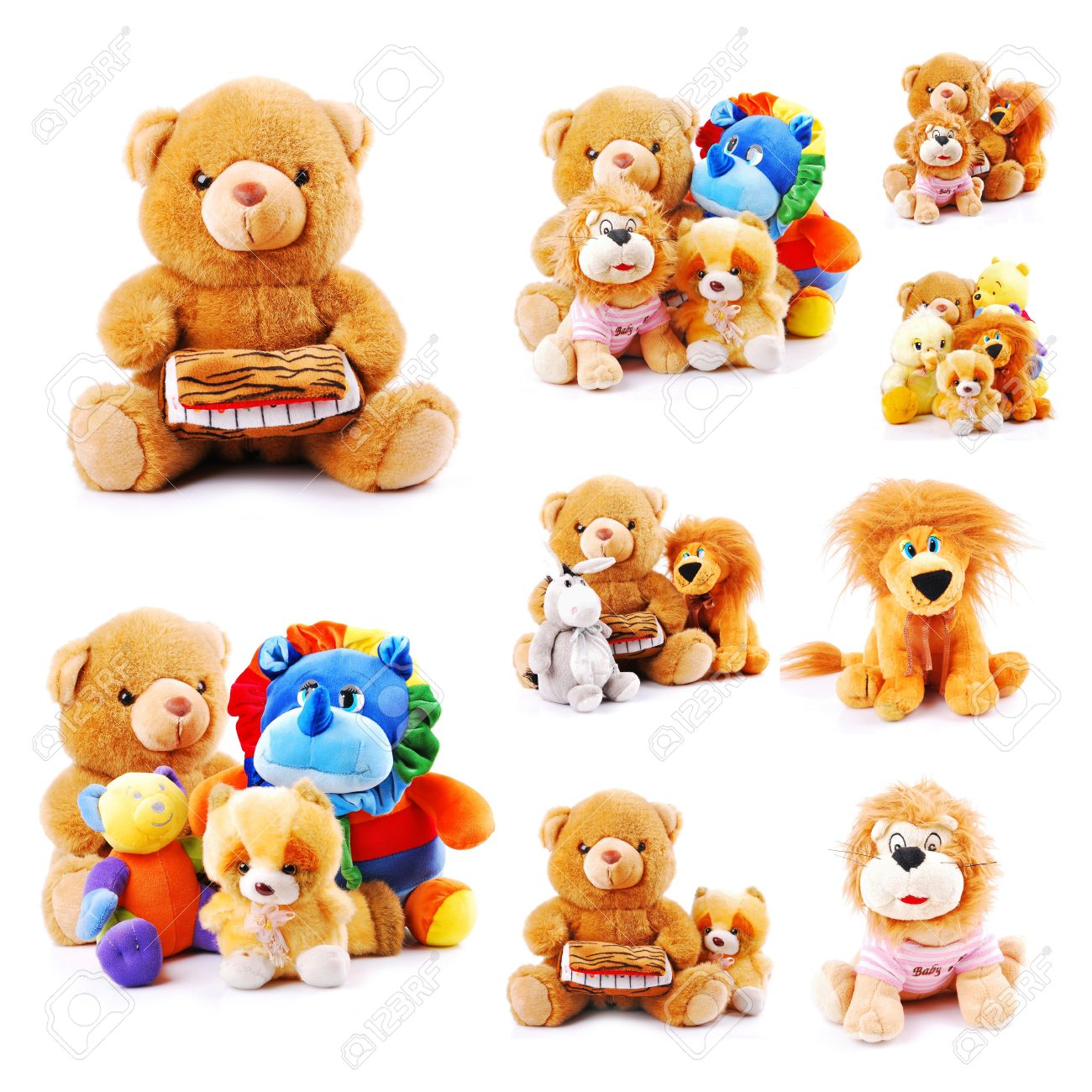 Plush toy animals isolated on a white background Stock Photo - 13990956