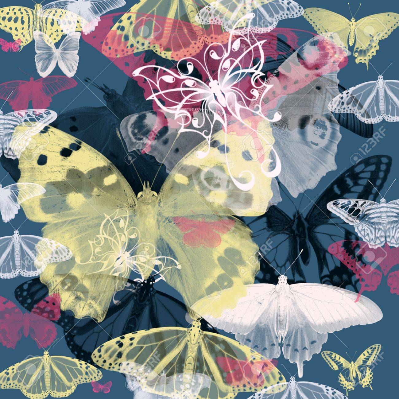 Seamless pattern with colorful butterflies flying Stock Photo - 19904111