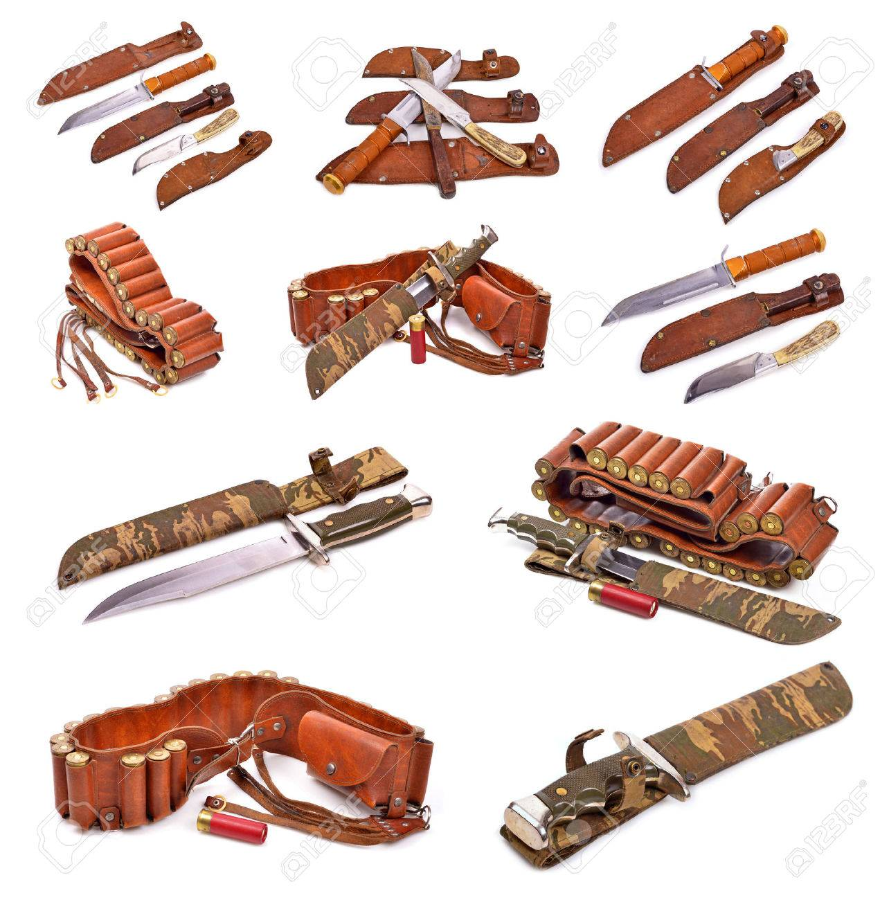 hunting accessories old leather bandolier, old hunting knife..