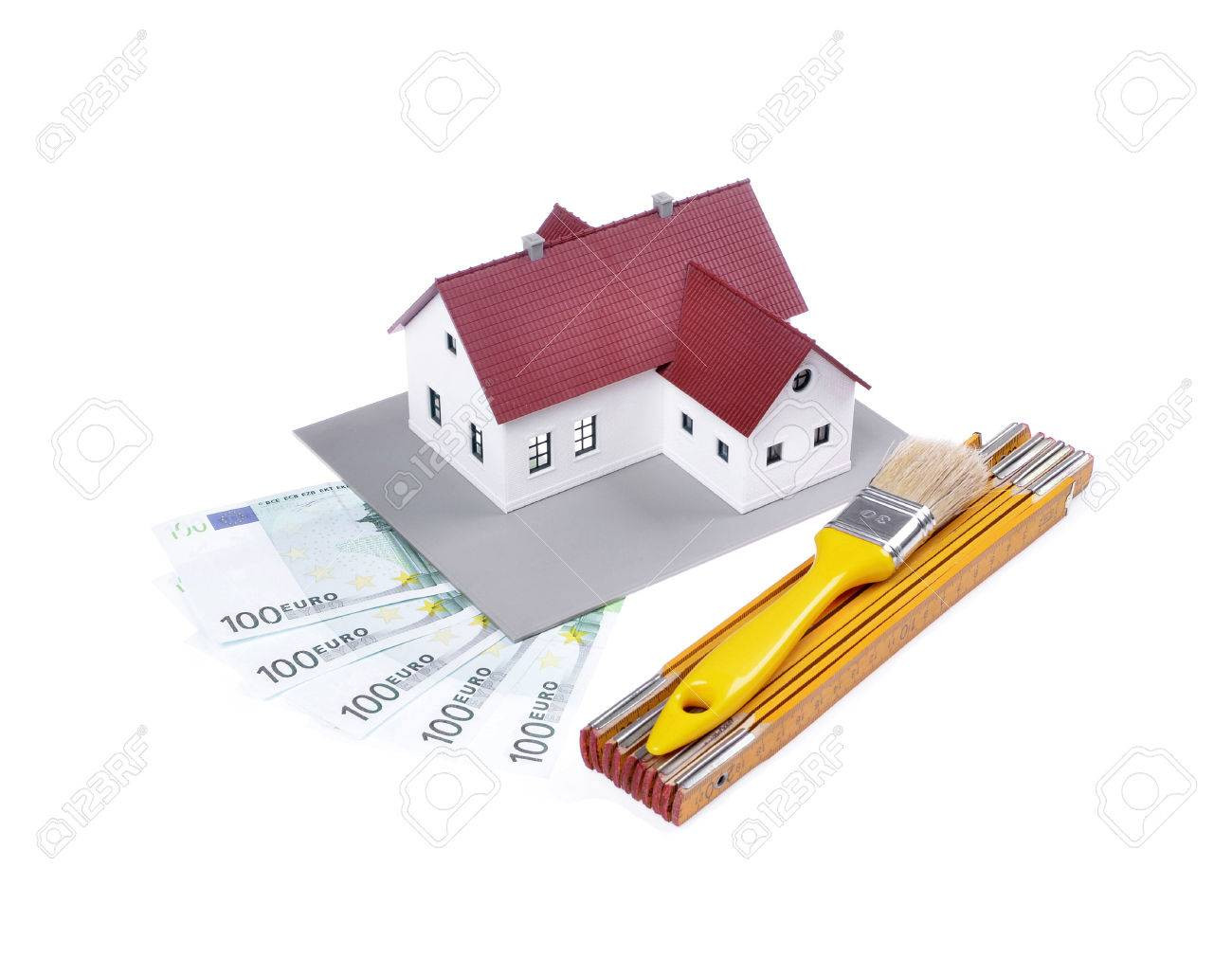 Model House , Construction Plan For House Building, Tools And Banknotes  ,isolated White Background