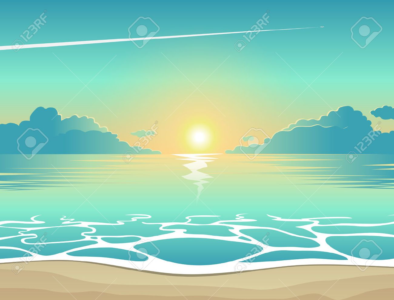 summer background vector illustration of the evening beach at