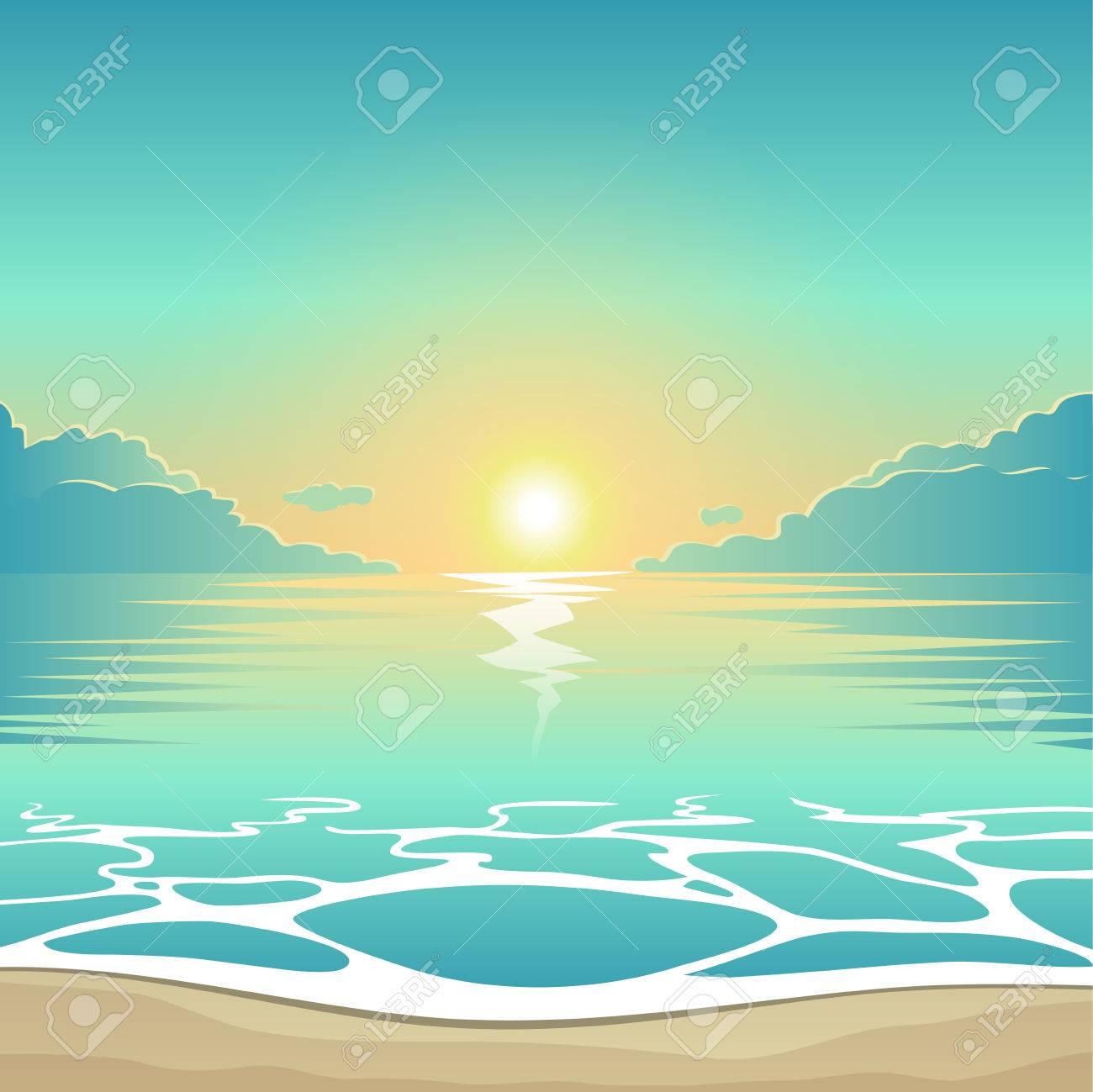 夕暮れの波、雲、シーサイド ビュー ポスター ベクトル夏背景イラスト