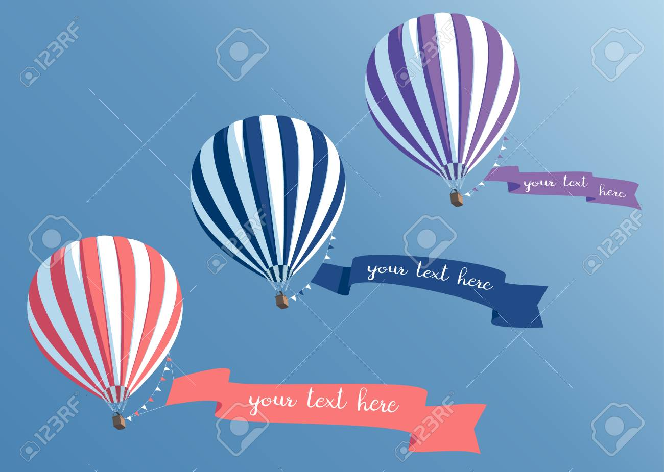 hot air balloons collection with banners flying in the blue sky bottom view striped hot