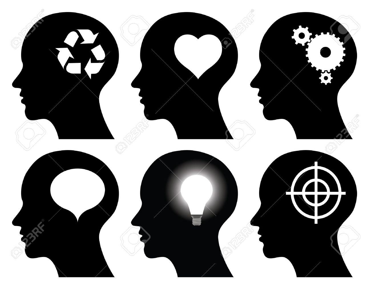 black head profiles with idea symbols, abstract illustrations Stock Vector - 12473410