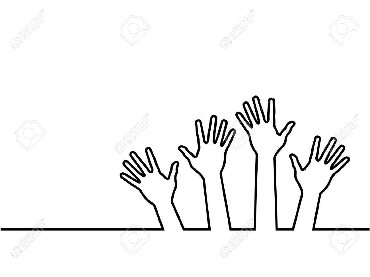 black line of hands, abstract vector illustration for design. Stock Vector - 12799235