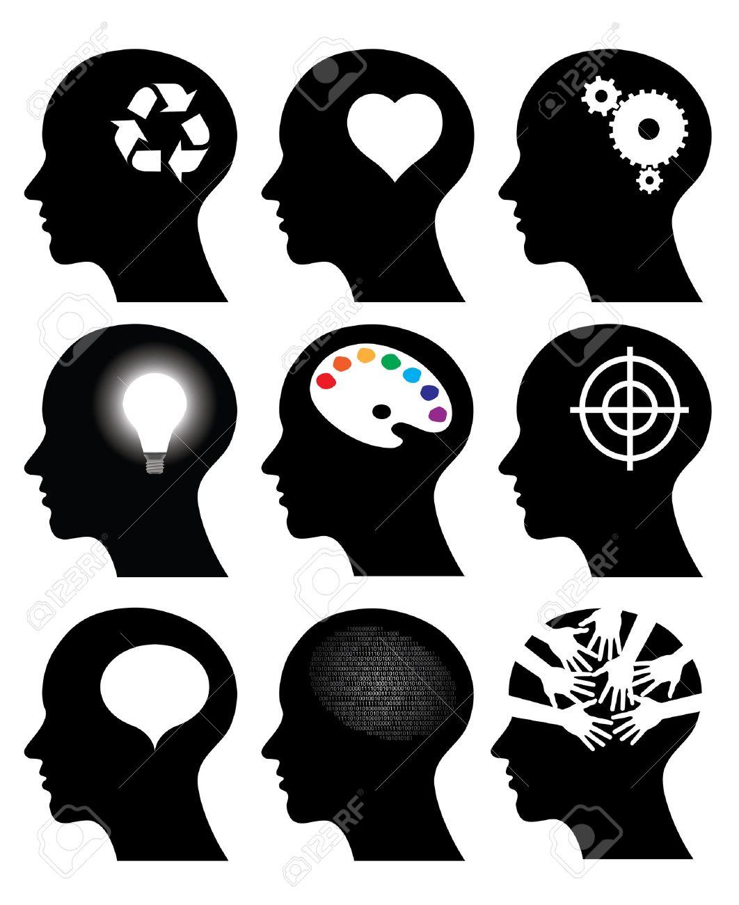 head icons with idea symbols, vector illustrations Stock Vector - 12799256