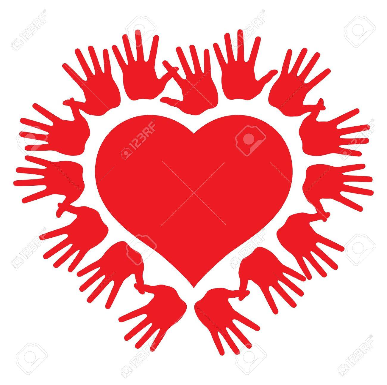 hands around a heart, abstract vector illustration Stock Vector - 12799246