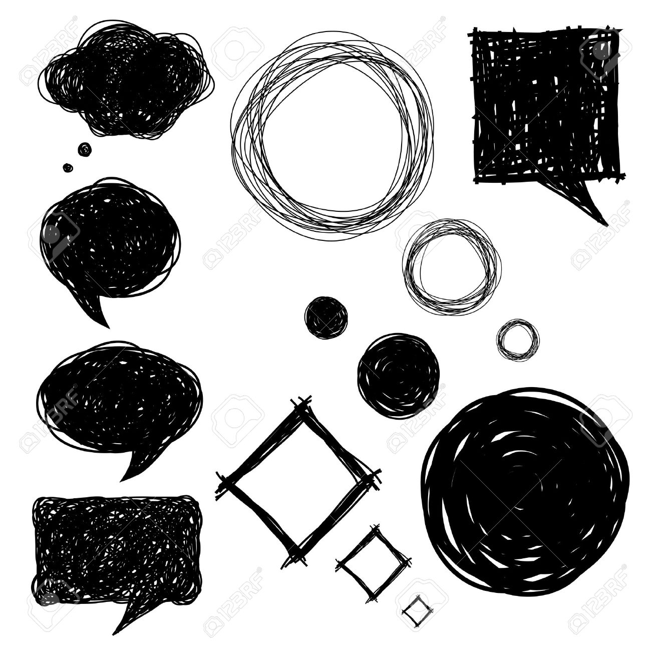 set of hand drawn sketch bubbles, vector illustrations Stock Vector - 14152885